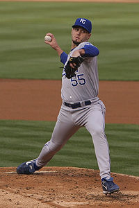 Gil Meche pitching in 2008
