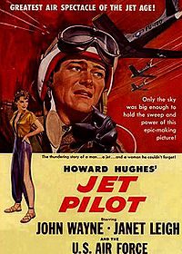 Jet Pilot, a Hughes pet production launched in 1949. Shooting wrapped in May 1951, but it was not released until 1957 due to his interminable tinkering. RKO was by then out of the distribution business. The movie was released by Universal-International.