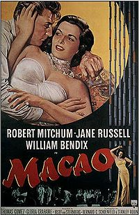 Robert Mitchum, RKO's most prolific lead of the late 1940s and early 1950s, costarred in Macao (1952) with Jane Russell, who was personally contracted to Howard Hughes. Director Josef von Sternberg's work was combined with scenes shot by Nicholas Ray and Mel Ferrer.