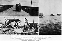 A montage of images of impact by the Okeechobee hurricane