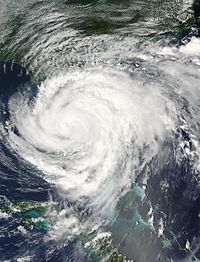 Satellite imagery of Hurricane Frances making landfall in Martin County