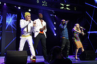 """American group The Black Eyed Peas spent six weeks at number one with """"Where Is the Love?"""" in 2003. In 2009, """"Boom Boom Pow"""", """"I Gotta Feeling"""" and """"Meet Me Halfway"""" also reached the number-one spot."""
