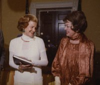 Six months before her death, Russell meets with First Lady Betty Ford (herself a breast cancer survivor) at the White House on May 11, 1976