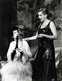 Rosalind Russell (left) and Polly Rowles in the original Broadway production of Auntie Mame (1957)