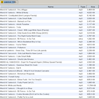 A screenshot of LimeWire PRO, showing a large number of parodies misattributed to Yankovic, as well as numerous misspellings of his surname (February 2007)