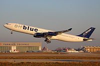A now-retired Airblue Airbus A340-300 taking off from Istanbul Atatürk Airport after maintenance.