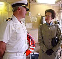The Princess Royal visits USNS Comfort on 11 July 2002, while the vessel docked at Southampton