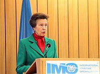The Princess Royal speaking at the 100th Maritime Safety Committee session in 2018