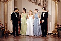 Anne and Charles at the White House with Tricia Nixon and Julie and David Eisenhower in 1970