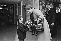 Anne visiting the British School in the Netherlands in 1984