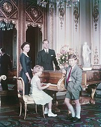 Princess Anne with her parents and elder brother in October 1957