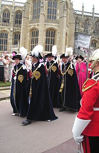 The Princess Royal processing at the Garter Service, Windsor, with her brothers, Charles, Andrew and Edward on 19 June 2006