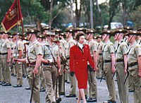 The Princess Royal at a parade on the 75th anniversary of the Royal Australian Corps of Signals, 5 July 2000.