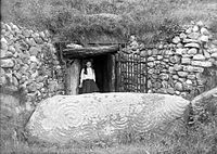 The entrance to Newgrange in the early 1900s, after much of the debris had been cleared