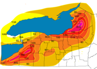 Average seasonal snowfall totals for areas subject to lake-effect snow in New York (in inches).