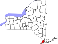 """New York City is highlighted in red; """"Upstate"""" refers to some or all of the area north and west of the city."""