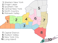 Economic regions of New York, showing approximate location of several upstate subregions