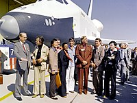 Testbed Space Shuttle Enterprise, named after the fictional starship with Star Trek television cast members and creator Gene Roddenberry.