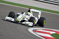 Button driving for Brawn at the 2009 Turkish Grand Prix, his final victory of the season.
