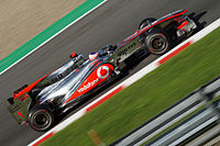 Button was running second at the before a collision with Sebastian Vettel forced him to retire.