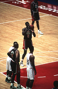 """Robinson at the free throw line in 1992 for the """"Dream Team"""""""