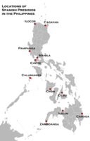 """This is a map outlining the general locations of the Spanish """"Presidios"""" officered by Spaniards, manned by Latin Americans from Mexico and Peru which defended the native Filipino settlements from Muslim, Wokou, Dutch and English attacks, which were built in the Philippines during the 1600s, according to the book Fortress of Empire by Rene Javellana, S. J. (1997)"""