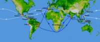 White represents the route of the Manila Galleons in the Pacific and the flota in the Atlantic; blue represents Portuguese routes.