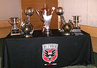 D.C. United trophy case (2007): four MLS Cup, CONCACAF Champions League, Interamerican Cup, MLS Supporters' Shield, and Lamar Hunt U.S. Open Cup.
