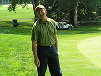 Els shares a laugh during the practice round for the 2004 Buick Classic