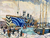 Olympic in dazzle at Pier 2 in Halifax, Nova Scotia painted by Arthur Lismer