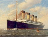 Olympic as she appeared after her refit following the Titanic disaster, with an increased complement of lifeboats, on a Fred Pansing painting, c. 1912–1913