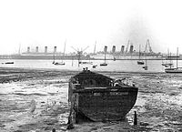 Olympic (left) and laid up in Southampton prior to their scrapping