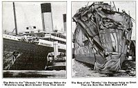 Images documenting the damage to Olympic (left) and Hawke (right) following their collision ([[:File:Olympic Hawke collision damage.jpg|other view here]])