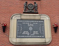 A plaque at Old Trafford in memory of those who died in the Munich air disaster, including players' names