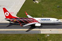 An official partner of the club, Turkish Airlines in Manchester United livery
