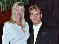 Swayze and his wife, Lisa Niemi, at the 1990 Grammy Awards