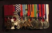 Cheshire's medal group on display at the Imperial War Museum.