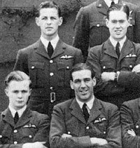 """Hugh """"Lofty"""" Long (centre) with pilot officer Cheshire (second row, right) in group photo of 102 Squadron, 1940"""