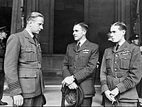The RAF's Charles Pickard, William Blessing and Leonard Cheshire at their investment ceremony at Buckingham Palace, 28 July 1943. Of the three, only Cheshire survived the war