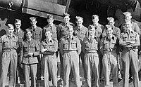Cheshire with air crew and ground crew while at 35 Squadron