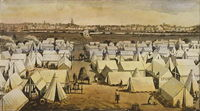 """South Melbourne's """"Canvas Town"""" provided temporary accommodation for the thousands of migrants who arrived each week during the 1850s gold rush. State Library Victoria H25127"""