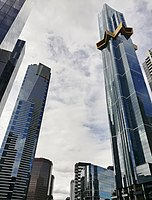 Melbourne is home to 61 skyscrapers, the two tallest being Eureka Tower (left) and Australia 108 (right), the Southern Hemisphere's only 100-plus-storey building.