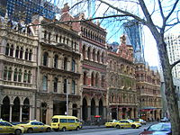 Victorian era buildings on Collins Street, preserved by setting skyscrapers back from the street