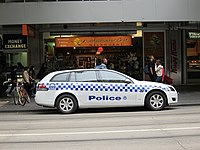 Victoria Police vehicle in the city centre.