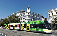 A tram in suburban St Kilda, south of the CBD. Melbourne's tram network is the largest in the world.