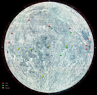 Green triangles indicate locations of Apollo landings on the Moon