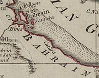 A 1794 map depicting Catura in the Historical region of Bahrain.