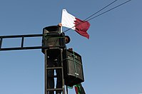 Qatar's flag in Libya after the Libyan Civil War; Qatar played an influential role during the Arab Spring.