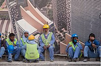Migrant workers in Doha.