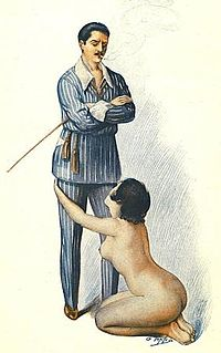 """BDSM is commonly misconceived to be """"all about pain"""". This 1921 art of a clothed male, naked female is an illustration of male dominance and female submission."""